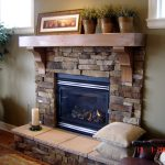 Wonderful Cool Amazing  Nice Adorable Elegant Fireplace Mantel Idea With Brick Concept Design With Wooden Mantel Design And Has Some Accessories
