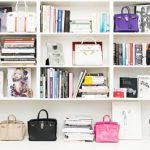 Wonderful Cool Large Adorable Simple Nice Fantastic Handbag Storage With Large Shelve Wooden Concept With Many Stuffs On The Storage