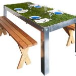 wonderful fantastic nice amazing creative modern cool picnic table with metal table frame concept design with nice grass surface decoration