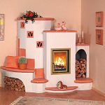 wonderful fireplace building in white and peach tones peach-wall paint wall decorations in peach dominant color wood floor idea light-peach carpet