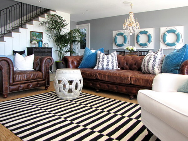 Awesome Wonderful Idea Of Living Room With Cozy Brown Leather Sofa Also Alluring  Blue Cushion With Magnificent Part 20