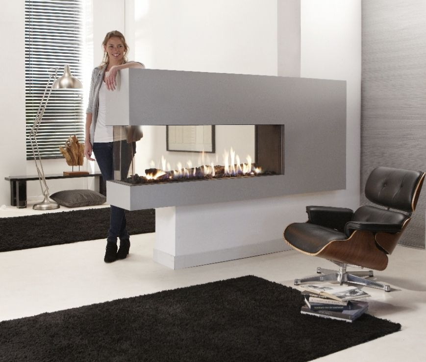 M Design Foyer Gaz : Creative modern sided gas fireplace design homesfeed