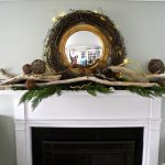 Wonderful Nice Adorable Cool Fantastic Driftwood Mantle With Nice Wooden And Leaves Concept Design And Has Wreath From Small Mirror 728x634
