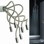 wonderful nice adorable cool medusa-shower-head with six fixtures design bendable concept with modern metal material for modern bathroom
