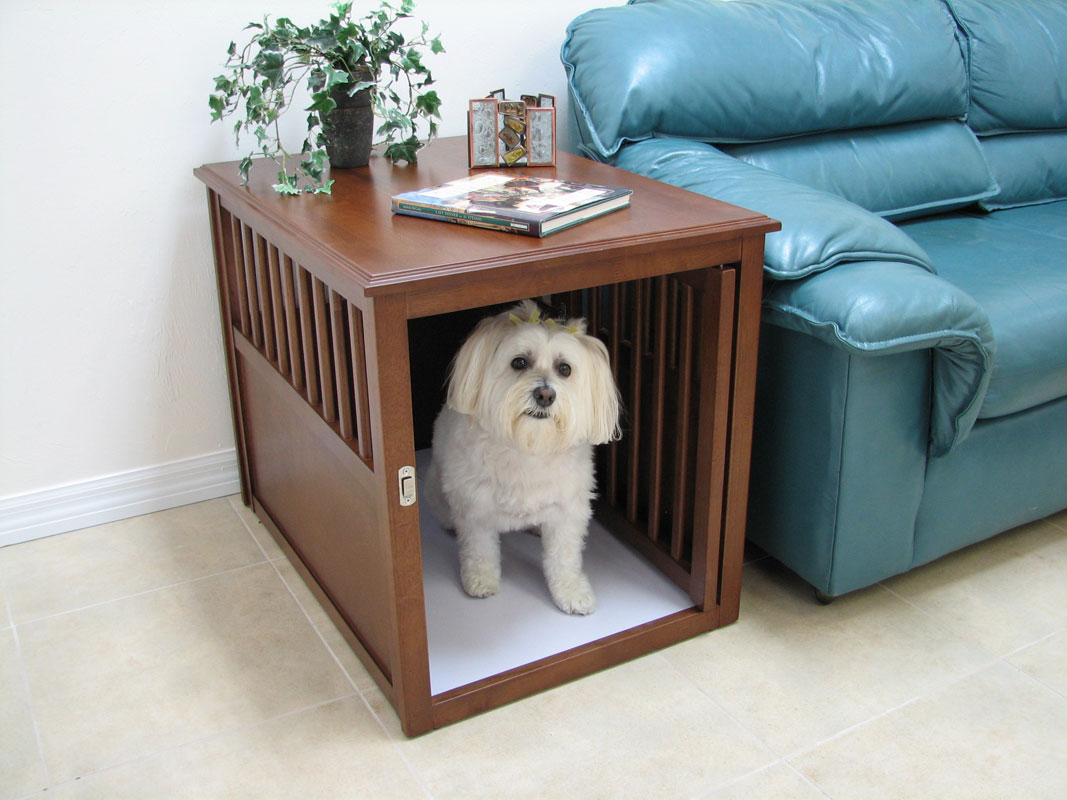Wood Dog Box House End As The Sidetable A Plant Ornament A Book Fair Blue  Sofa. Wood Dog Crate Table With ...