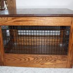 wood  dog crate with black metal wire wall