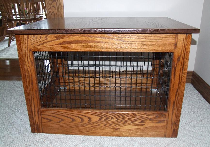 Wood Dog Crate With Black Metal Wire Wall Part 39