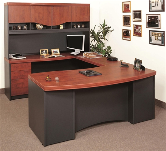 High Quality Wood Finishing Top U Shape Desk With Drawers And Cabinets Minimalits Flat  Screen Computer Set Several