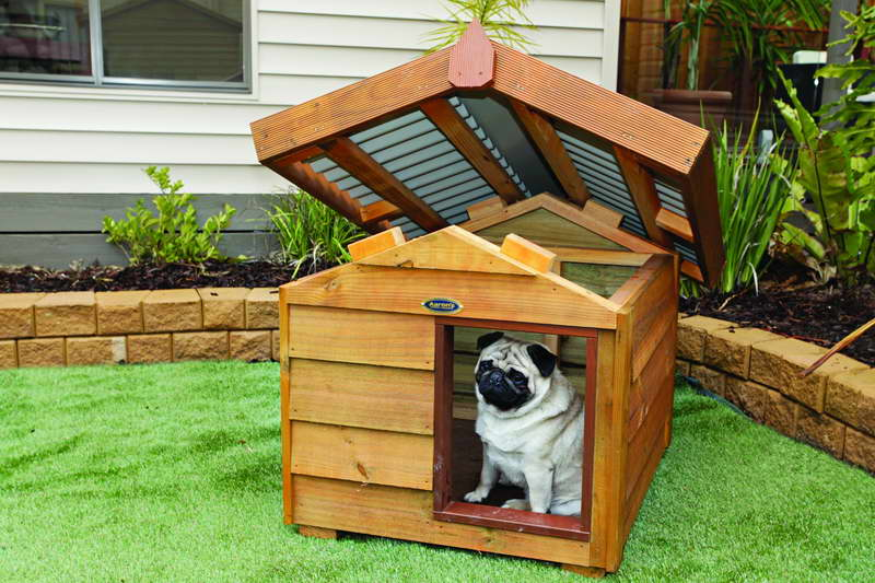 Attractive Wooden Dog House With Opened Closed Rooftop Great Ideas