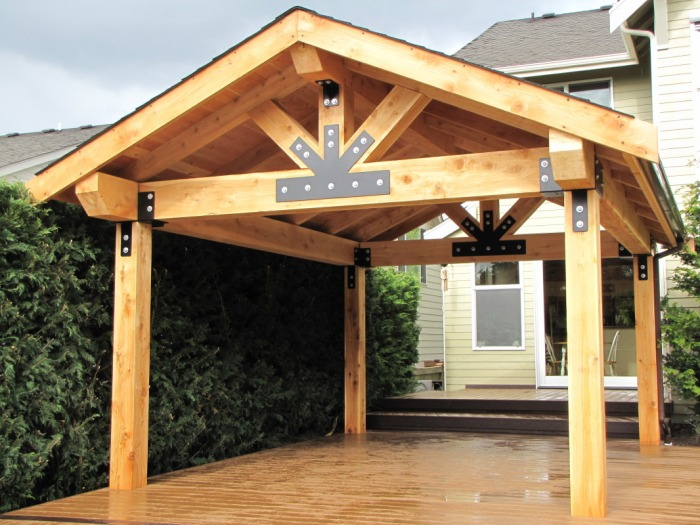 Wooden patio covers give high aesthetic value and best for Wood deck cover plans