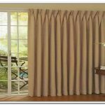 S-shape window curtain for sliding glass door with white wood frames