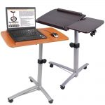 adjustable panel standing desk in originals wood-color and black finish and wheels to move the desk