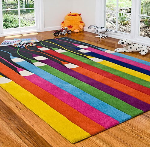 Colorful Kids Rooms: Colorful Design Of Kids Rug For Small Room
