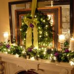 adorable-cool-simple-elegant-luxurious-christmas-decoration-for-mantel-with-green-leaveas-and-wonderful-light-with-simple-small-candle
