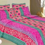 Adorable Nice Coolest Fresh Beautiful Bad Sheet With Pink Green Abstract Decoration Concept With Nice Ornaments For Large Bedroom 728x551
