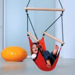 adorable-nice-creative-simple-small-hanging-chairs-for-kids-with-kids-swinger-hanging-chair-for-kids-usage-with-black-rope-and-red-cloth-choice