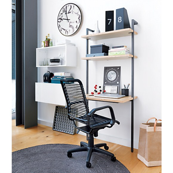desks for small spaces with iron frame in black with small surface