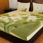 Attractive Coolest Nice Modern Bad Sheet With Green Forest Coloring Concept With Lili Flower Drawing With Great Pillows