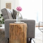 Attractive Nice Simple Small Creative Tree Trunk Side Table With Wooden Original Design For Flower Vase Place Decoration