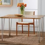 Awesome Cool Nice Great Cool Hair Pin Legs Dining Table With Nice Wooden Surface Small Concept With Steem Made Legs With Nice Flower On The Table