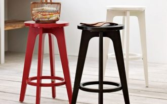 black  white and red chairs for bar kitchen no back with a basket on red bar stool top