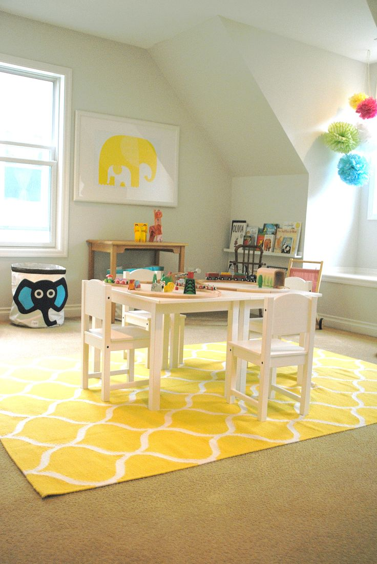 Bright Yellow Carpet With White Patterns A Set Of Wood Furniture For Study Cute