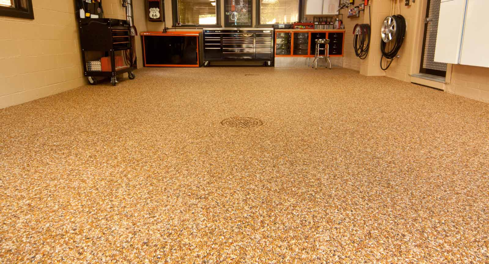 brown solid epoxy paint for concrete floor in basement & Bring Basement Floor Covering More Vivid | HomesFeed