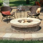 Built In Fire Pit Table Made From Bricks A Pair Of Comfy Rattan Chairs With Small Round Console
