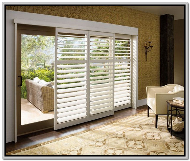 built in white shutter window treatment for sliding glass door a white