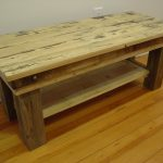 butcher block table with under shelves