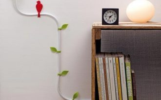 creative electric cable organizer in home office