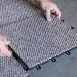 dark carpet bloc sheets before being installed