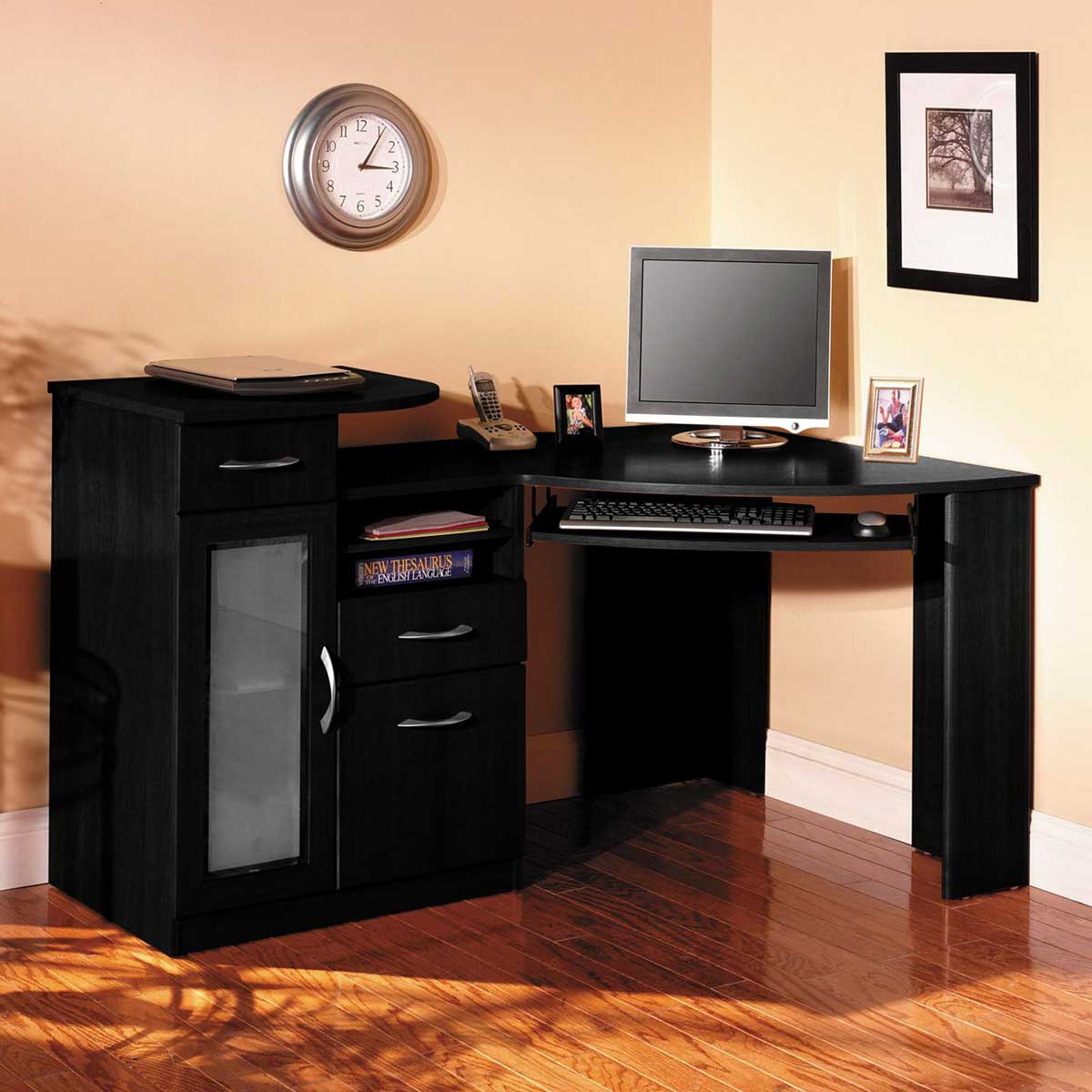 Corner Drawer Brilliant Black Corner Desk With Drawers Image For Hutch And 30