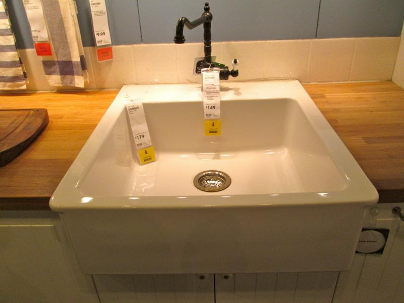 Delicieux Farm Sink Ikea In White And Dark Metal Faucet Wood Countertop
