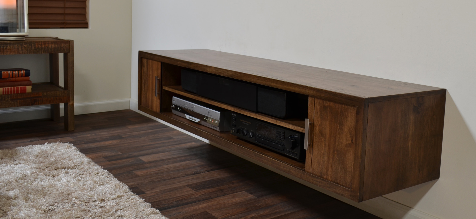 Floating media desk in rustic style some electric media units on shelves hardwood flooring idea light modern minimalist floating tv console