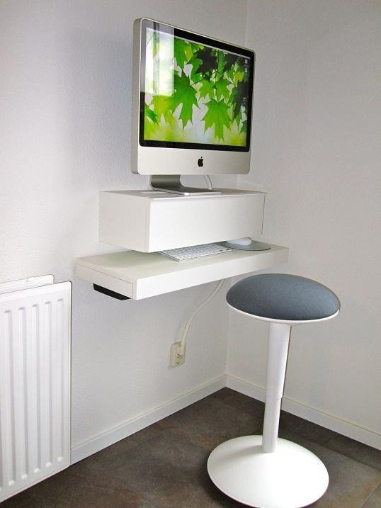 Floating Standing Desk For Computer In White Stylish Round Seat With Wider Leg Model