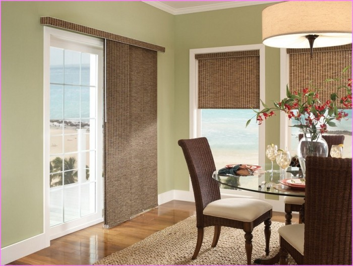 window treatments for sliding glass doors images honeycomb treatment door white frame large warm pendant lighting rattan dining chairs comfy seat table brown rug hardwood floor ve