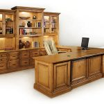 large-adorable-nice-wonderful-cool-fantastic-u-shaped-desk-with-classic-coloring-design-in-brown-with-big-built-in-cabinet
