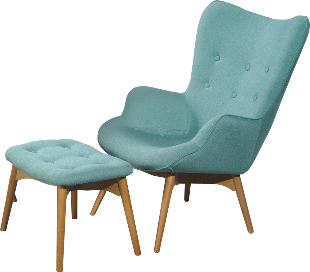 light blue reading chair with blue table. small reading chair for tiny private houses small spaces and