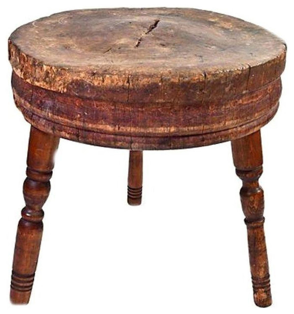 Log Cedar Butcher Block Table In Round Shape