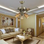 luxurious big ceiling fan with beautiful lighting a set of living room furniture warm brown wallpaper  light brown living room rug a painting as wall decoration