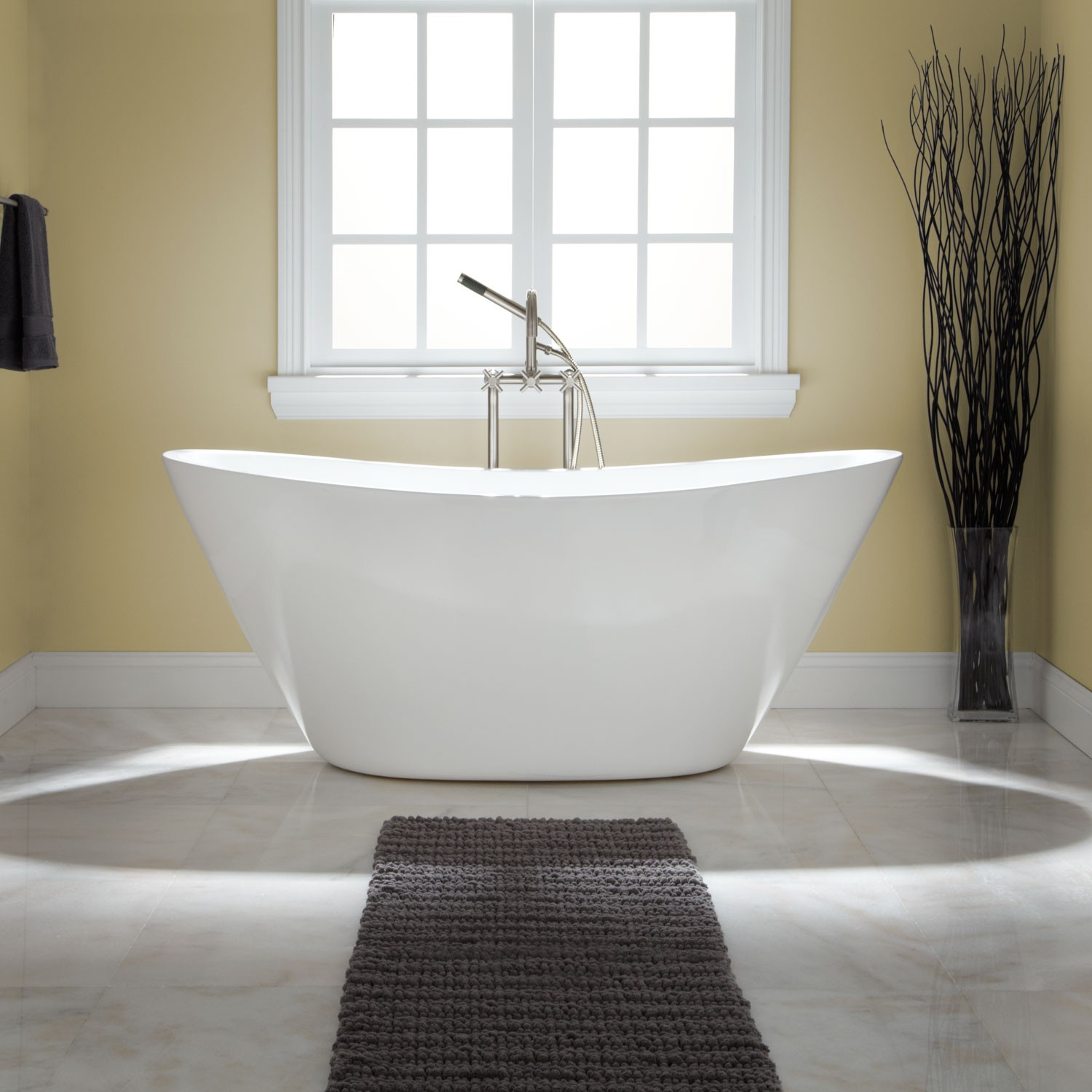 freestanding soaking tub for two. minimalist tub for two with stainless steel water sprayer dark grey wool  mat bathroom Create A Romantic Scenery by Enjoying Bath Session on Soaking Tub