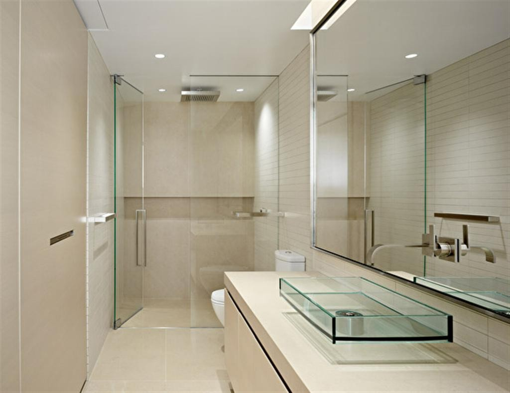 modern minimalist bathroom idea with frameless glass panels shower a toilet appliance white floating vanity with - Glass Sheet Bathroom 2015