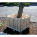 new wood planks tree planter box