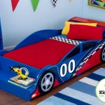 Nice Cool Adorable Fantastic Simple Race Car Bed For Toddler With Blue Car Wooden Made Concept With Nice Red Bed Sheeting 728x533
