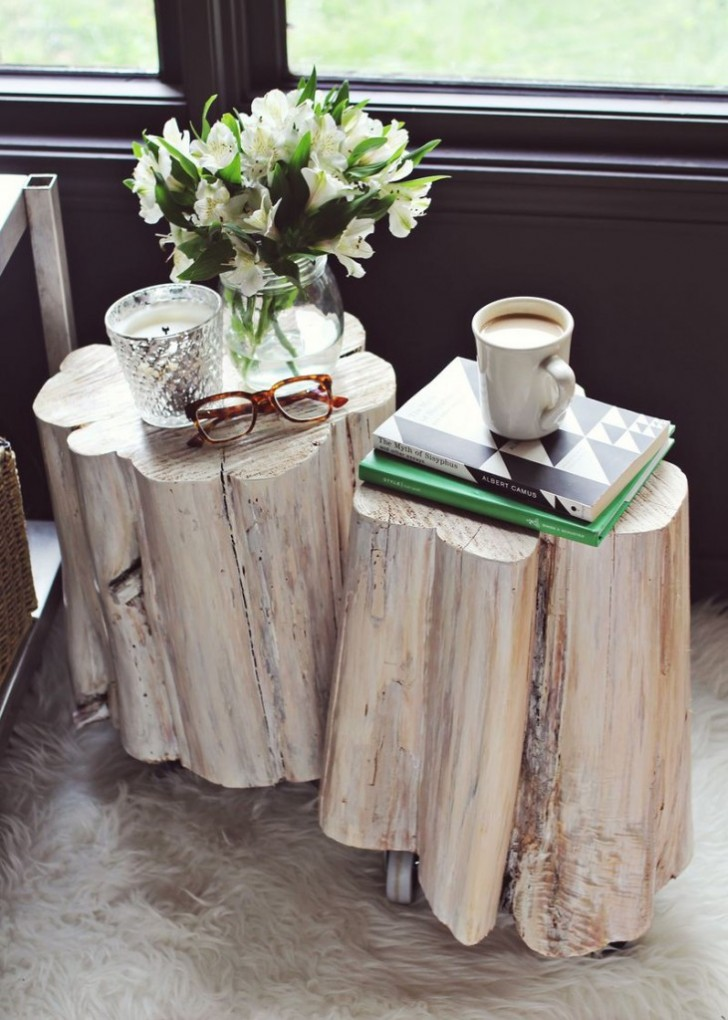 Creative Design of Tree Trunk Side Table for Home Decoration | HomesFeed