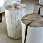 Nice Cool Simple Classic Modern Tree Trunk Side Table With White Coloring Concept And Nice Round Shape Design For Coffee Table