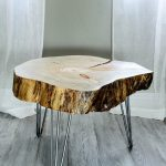 Nice Cool Table Furniture Beautiful Short Tree Stump Side Table With Silver Iron Legs With Grey Wood Flooring Color Also White Transparent Curtain Color