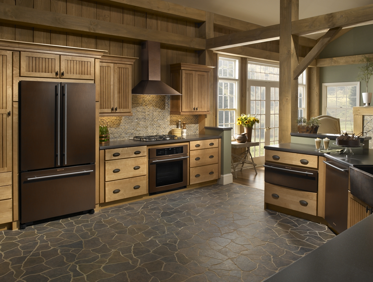 Oil Rubbed Bronze Kitchen Liances In Rusttic Style Room Natural Stone Tiles For Kicthen