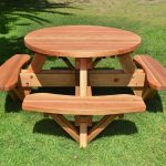 round picnic table with chairs for outdoor party